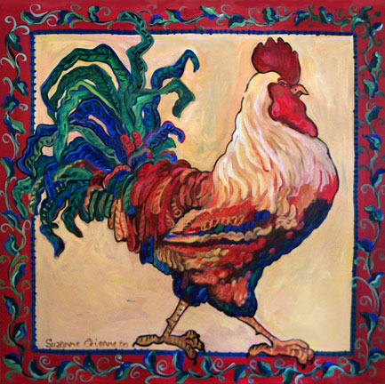 Blue Rooster by Suzanne Etienne